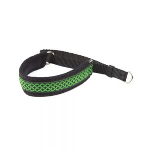 Green celtic design oon black ribbon -on black webbing-black fleece