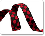 Black and red check jacquard