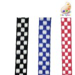 Checkered jacquard with white and red, royal, or black
