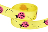 Yellow grosgrain with red ladybugs