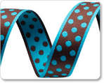 Brown jacquard with turquoise polka dots-reversible