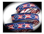 Red, white and blue star and paws jacquard
