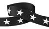 """Black Ribbon with white stars available in 3/8 and 1/2"""" widths."""