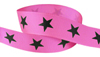 Black star on bright pink grosgrain ribbon