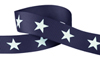 White star on navy grosgrain ribbon