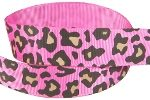 Hot pink leopard grosgrain ribbon