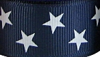 7/8 in White stars on navy grosgrain ribbon