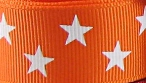 7/8 in White stars on orange grosgrain ribbon