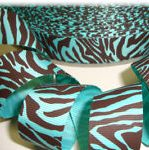 Aqua-brown zebra grosgrain ribbon