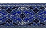 Blue-Silver Geo Metallic jacquard ribbon
