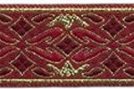 Burgundy-Gold Geo Metallic jacquard ribbon