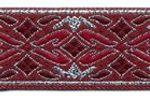 Burgundy-Silver Geo Metallic jacquard ribbon