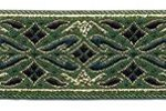 Emerald-Gold Geo Metallic jacquard ribbon