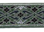 Emerald-Silver Geo Metallic jacquard ribbon