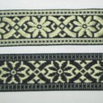 Gold and black eidelweiss jacquard reversible ribbon