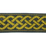 Gold celtic design on black jacquard ribbon