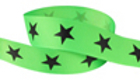 Black star on neon green grosgrain ribbon