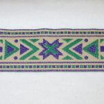 Green-Purple-Tan Geo jacquard ribbon