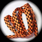 Orange and black check jacquard ribbon