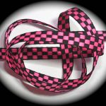 Bright pink and black check jacquard ribbon