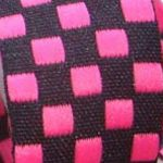 1 in Hotpink-black check jacquard ribbon