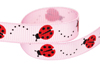 Red ladybugs on light pink grosgrain ribbon