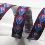 Purple-Blue Diamonds Metallic jacquard ribbon