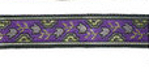 Gold Metallic Flower on purple jacquard ribbon