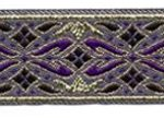 Purple and gold geo metallic jacquard ribbon