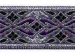 Purple and silver geo metallic jacquard ribbon
