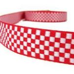 Red and white checkered jacquard ribbon