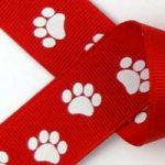 White paws on red grosgrain ribbon