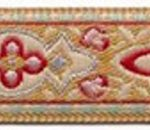 Burgundy Geo design on Tan jacquard ribbon