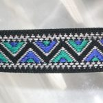 Teal and blue zig zag on black jacquard ribbon