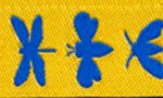 Blue insects on yellow jacquard ribbon-reversible