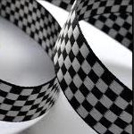 Black-White Checkerboard jacquard ribbon