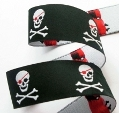 Black pirate jacquard ribbon