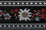 1 in White eidelweiss on black jacquard ribbon