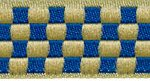 Blue-Cream Checkerboard 3/4 in jacquard ribbon