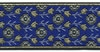 Blue-Gold Flower-Metallic 1 1/2 in jacquard ribbon