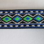 Blue and green diamonds jacquard ribbon