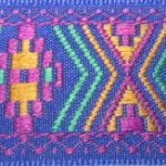Blue-pink-gold-teal aztec jacquard ribbon