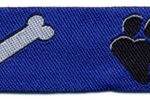 White Paw-Black Bone on royal blue 1 in jacquard ribbon