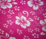 Bright Pink Fleece with white hibiscus flowers