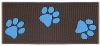 Brown-blue paw grosgrain ribbon
