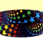 Colorful stars grosgrain ribbon