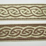 1 in Cream-Brown Celtic-Reversible jacquard ribbon