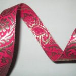 Fuschia-Gold Paisley-Metallic jacquard ribbon reversible