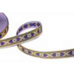 1/2 in Purple hearts on gold metallic jacquard ribbon