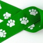 1 in White paws on kelly green grosgrain ribbon